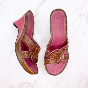 Clarks Indigo Pink Brown Leather Wedge Sandals 5